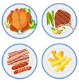 set of food on plate vector image vector image