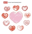 Set of hand drawn hearts grunge style vector image vector image
