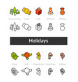 set of isometric icons in otline style colored vector image