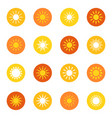 set of sun icons on color background vector image vector image