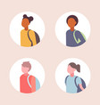 set women men students avatar casual mix race vector image vector image