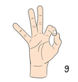 Sign language number 9 vector image vector image