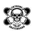 skateboarder emblem crossed skateboards and skull vector image vector image