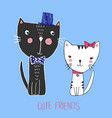 sketch of black cat boy and white cat girl vector image vector image