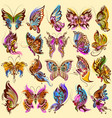 tattoo art design of butterfly collection vector image vector image