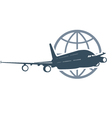 Travel around the globe - flying airliner vector image vector image