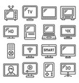 tv icons set on white background line style vector image vector image