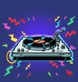 vinyl record player eighties style vector image