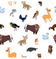 wild europe animals seamless pattern in flat style vector image vector image
