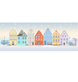 Winter cityscape with retro houses vector image vector image