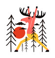 with colored moose in yellow pants sun vector image