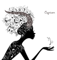 Zodiac sign capricorn fashion girl vector image