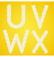 Letters UVWX composed from daisy flowers Complete vector image