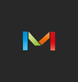 M letter colored logo template colorful graphic vector image