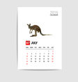 2016 July calendar Kangaroo polygon vector image vector image