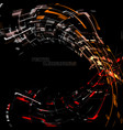 abstract geometry colors curved motion on a black vector image vector image