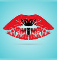 albania flag lipstick on the lips isolated on a vector image