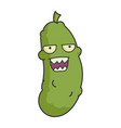 angry dill pickle cartoon vector image