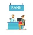 Bank Manager At His Desk And The Client Bank vector image