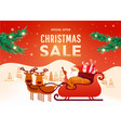 beautiful christmas poster with santa liver deer vector image vector image