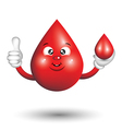 Blood Drop Cartoon Character smiling and giving a vector image