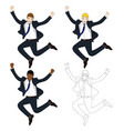 business man jumping vector image vector image