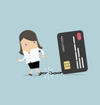 businesswoman breaks free from credit card vector image vector image