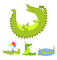 cartoon green crocodile funny predator australian vector image vector image
