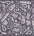 cartoon hand-drawn disco music seamless pattern vector image vector image