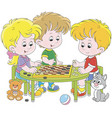 children playing checkers vector image vector image