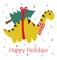 christmas card with cute dinosaur vector image