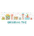 christmas time horizontal banners presents gift vector image