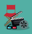 cinema director chair with icons vector image vector image