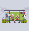 city bus stop people vector image vector image