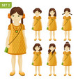 collection of cute little girls with different vector image vector image