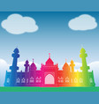 colorful rainbow mosque under blue sky at patani vector image vector image