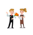 couple of waiters wearing the uniform holding a vector image vector image