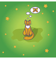 Cute little cat sitting on the green grass vector image