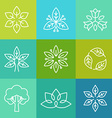 ecology and organic logos in outline style vector image vector image
