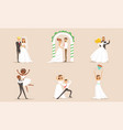 elegant romantic just married couples in love set vector image