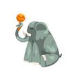 elephant playing maraca cartoon animal character