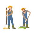 farming people with rake set vector image vector image