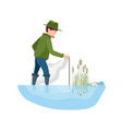 fishermen installs the nets on the right place vector image