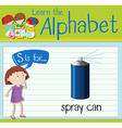 Flashcard letter S is for spray can vector image