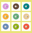 flat icons halloween set of broom and moon concept vector image vector image