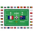 football or soccer match with scoreboard vector image