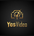golden logo of the camera with a tick in the lens vector image vector image