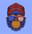 gorilla head usa vector image vector image