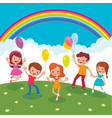 group of cheerful children with balloons playing vector image vector image