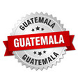 guatemala round silver badge with red ribbon vector image vector image